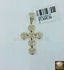 REAL 10k Men's Yellow Gold with 1/5 CT Diamond Jesus Cross Bubble Charm/Pendant.