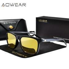 Aowear HD visione notturna occhiali uomini in alluminio Giallo Lens Occhiali da sole uomo polarizzare