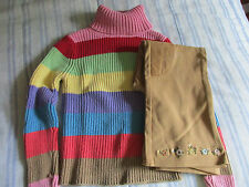 VGUC 5/6 TCP Multi Color Stripe Sweater/Gymboree Riding Style Pants
