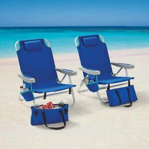 Mainstays Reclining Beach & Event Backpack Chair with Cooler Bag Blue (2-Pack)