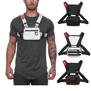 Men Outdoor Chest Rig Bags Harness Chest Vest Travel Crossbody Shoulder Bag