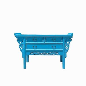 Distressed Light Blue 3 Drawers Foo Dogs Carving Side Altar Table cs6118