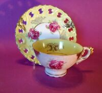 Pedestal Cup And Reticulated Saucer - White Luster & Yellow - Pink Roses - Japan