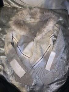 Worn Once River Island Cardigan Faux Fur Trim Size 10