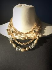 Vintage Signed Coro Multi-strand Beaded Choker Necklace. Gold Tone Adjustable
