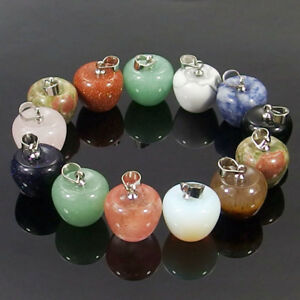 hand carved apple shape natural gemstone loose beads pendant stone jewelry DIY