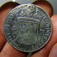 More details for rare sweden 1700, silver 4 mark, karl xii (1697-1718): stockholm