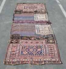 Antique 1900s Central Asian Tribal Handmade Oriental Rug Runner 100%Wool NavyBlu