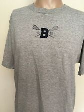 VTG 80s BUM EQUIPMENT LACROSSE GRAPHIC T SHIRT Heather Gray LOGO PATCH USA L