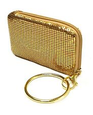 Mollaspace Tsubota Pearl Bling Bangle Pouch, GOLD top zip for phone,MP3, wallet