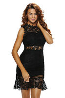 Womens black lace evening bandage celebrity towie boutique dress size 8 10 12