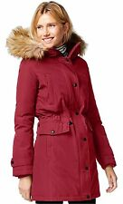 Michael Kors Faux Fur Hood Down Anorak Coat Black Olive Red
