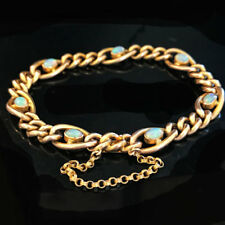 "Stunning, Victorian, 9ct, 9k, 375 Gold Opal curb link bracelet. Length 7"" / 18cm"