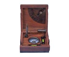 "Marine Master Box, Compass, Telescope, Alidade w/ 5"" Desktop Wood Case New"