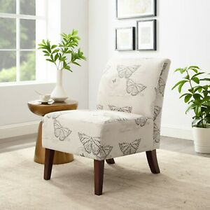 Linon Lily Linen Accent Chair, Butterflies Theme