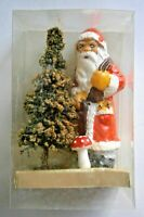Vintage Figural Painted Soap Santa Claus standing by Christmas Tree, W. Germany