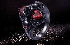 Black Statement Skull Red Crystal Zircon Ring Size 7 #R117