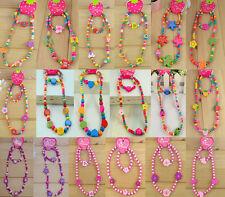 New Girl's Wooden Flower Heart Animals Beads Necklace&Bracelet Jewellery 1 Set
