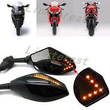 LINK UNIVERSAL LED LIGHTS MOTORCYCLE MIRRORS MIRROR SET SMOKE BLACK TURN SIGNAL