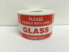 100 Labels 2x3 Please GLASS Handle with Care Shipping Mailing Warning Stickers