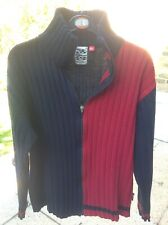 Zip-front Ribbed Cardigan Blue/Red Labelled XL