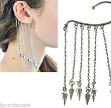 Ear Cuff Drop Earrings Chain Link Tassels Spike Rivet Dangle Silver Steel