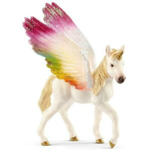 Schleich Hand Painted Figure Plastic, 5-12 Years - Winged Rainbow Unicorn - Foal