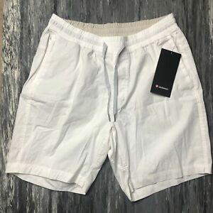 """LULULEMON Men's Bowline Short White Large L Cotton-Blend Casual 8.5"""" Inseam New"""