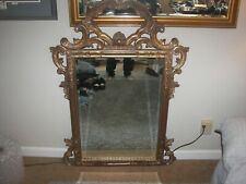 """Large Antique Ornate Wood And Gesso Frame Wall Mirror - 38"""" Wide x 60"""" Tall"""