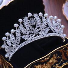 7cm High Large Pearl Leaf Crystal Wedding Bridal Party Pageant Prom Tiara Crown