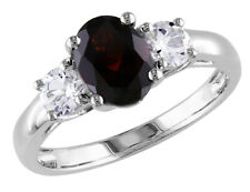 2.0 ctw Garnet and Created White Sapphire Three Stone Ring in Sterling Silver