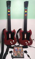 2 Guitar Hero Gibson Red Octane Controllers + Guitar Hero 1 & 2 Duel pack PS2