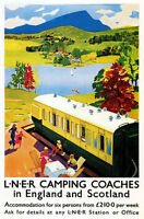 TX109 Vintage LNER Camping Coaches England Scotland Railway Poster A4