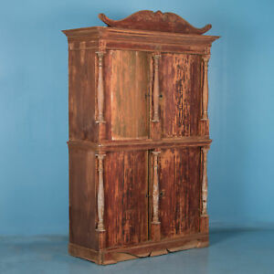 Antique Danish Pine Bow Front Four-Door Cabinet with Original Red Paint
