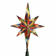 Mosaic Bethlehem Star Christmas Tree Topper with 10 Lights Decoration Indoor Use