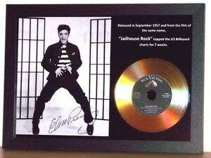 ELVIS PRESLEY 'JAILHOUSE ROCK' SIGNED GOLD DISC COLLECTABLE MEMORABILIA GIFT /01