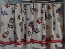 Vintage Raggedy Ann & Andy Curtain Panels Lined plus Valance Green Chair