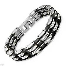 Attractive New Gentlemens Bracelet Crafted in Stainless steel and Rubber
