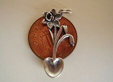 BEAUTIFUL STERLING SILVER DAFFODIL WELSH LOVESPOON CHARM PENDANT