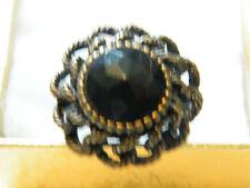Beautiful Antiqued Brass Tone Cocktail Ring Chuncky Black Rhinestone Size 8 WOW