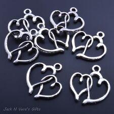 DOUBLE HEART CHARM PENDANT  - Open Heart  - Antique Silver Colour Plated 10 Pcs
