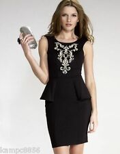 New Lipsy Black Peplum Sequin/Beaded Dress Sz UK 12