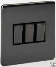 1 x 3 GANG SCREWLESS BLACK  NICKEL LIGHT SWITCH 48608