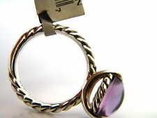 David Yurman 12x10mm Oval Amethyst Silver Stack Ring Size 6 NWT