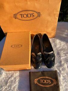 TOD'S Schuhe Damen Leder schwarz 5,5 / 38,5  NP 485 € Ballerina BLOGGER Schleife