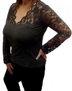 Plus Size Charcoal Low-Cut Lace Long Sleeve V-Neck Stretchy Blouse Top 1X/2X/3X