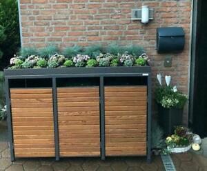 Holz Mülltonnenbox mit Pflanzdach, 3er Mülltonnenhaus - 240 Liter