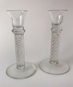 Vintage Pair of Crystal Candlesticks 1980s