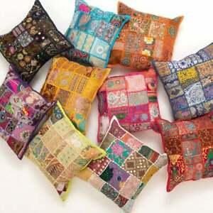 New Khambadia hand embroidered vintage banjara rabari work cushion cover 16 X 16