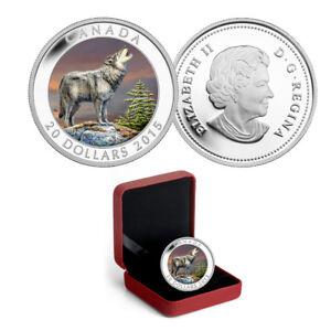 2015 Canada $20 The Wolf - 1 oz. Fine Silver Colored Coin